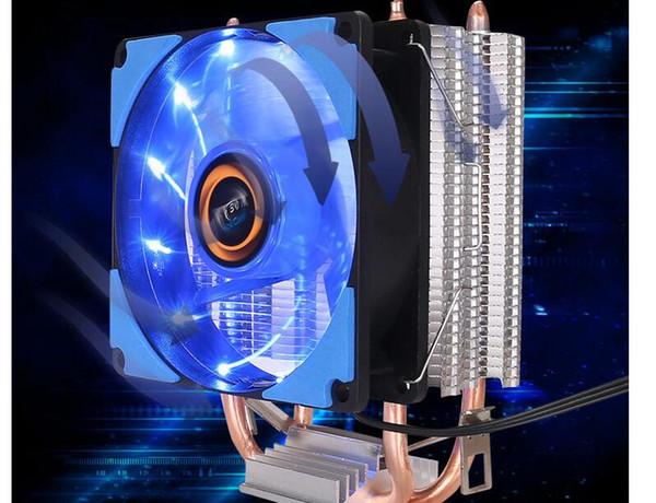top popular Desktop multi platform CPU fan double heat pipe desktop computer silent radiator fan Type heat sink Material aluminum copper 2021