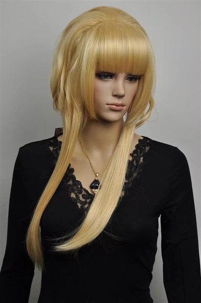 free shipping Womens Long Straight yellow three color Wig Heat Resistan light yellow Color curls wavy hair Wig No bangs+Wig Cap