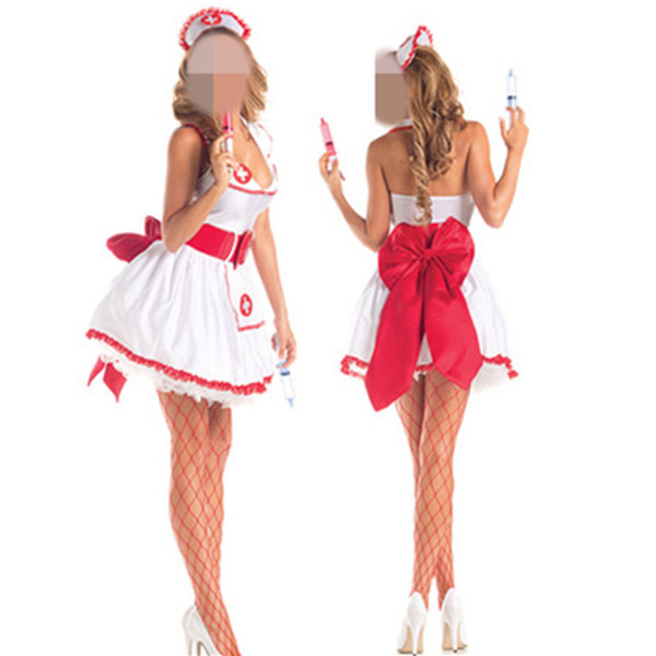 En gros Fantasy Party Sexy Infirmière Costume Flirting Women Outfit Halloween Fantasias Womens Role Play Jeux