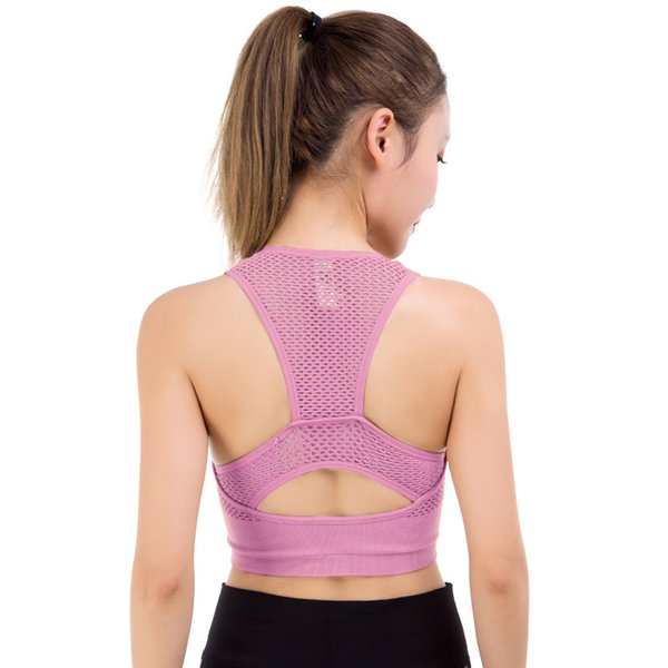 Sexy Mesh Fitness Women Yoga Bra High Impact Padded Running Bra Shockproof Push Up Sports Hollow Out Athletic Underwear Tops
