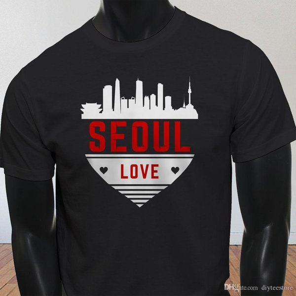 Seoul Love Skyline Heart South Korea Tourist Mens Black T-Shirt T-Shirt Men Male Amazing Short Sleeve Cotton Custom Round Collar T-Shirts