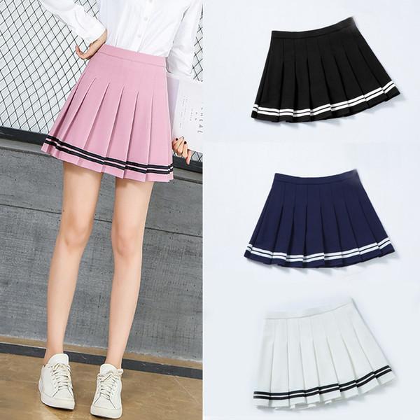 Shinymora estate mini gonna a pieghe per le donne a vita alta ragazze casual pantaloncini gonne a righe harajuku scuola giapponese uniforme