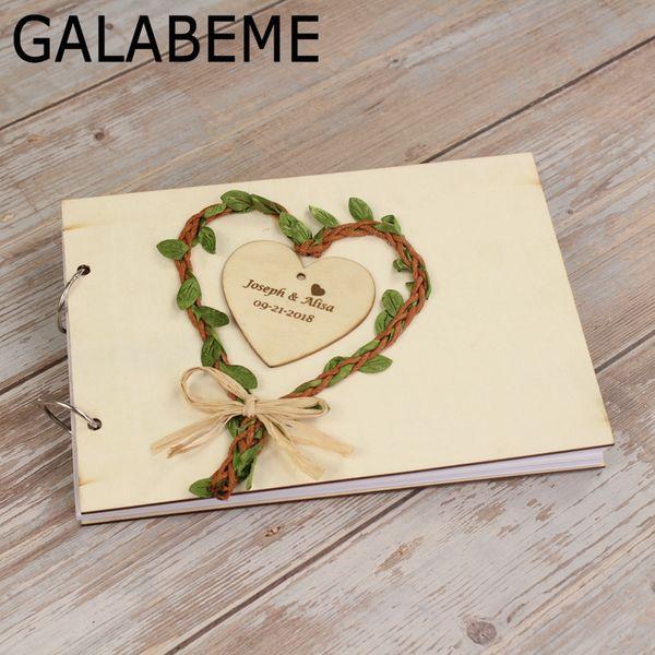 Acheter Gros A5 Personnalise Grave Nom Date Mariage Livre D Or Coeur D Amour Mariage Personnalise Livre D Or Cadeau De Mariage Rustique De 30 39 Du
