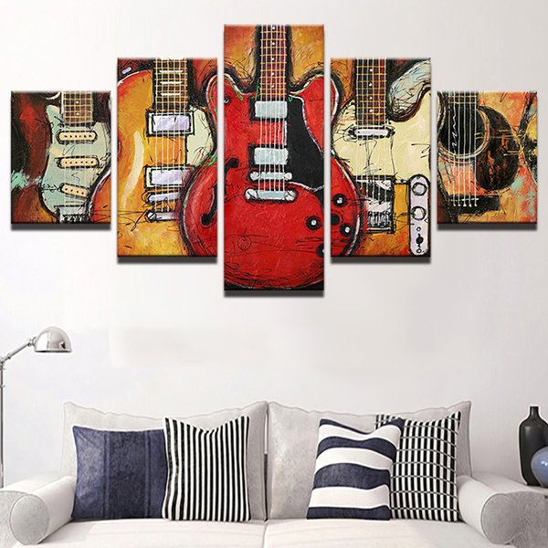 Painting Modern Canvas HD Printed Wall Art Frame Modular Pictures Living Room Decoration 5 Pieces Abstract Guitar Music Poster