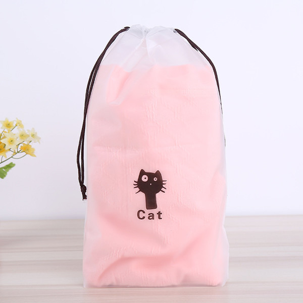 Cute Cat Pattern Drawstring Bags Plastic Bags Organizer For Clothes/Underwear Transparent Sundries Packing Bags ZA6611