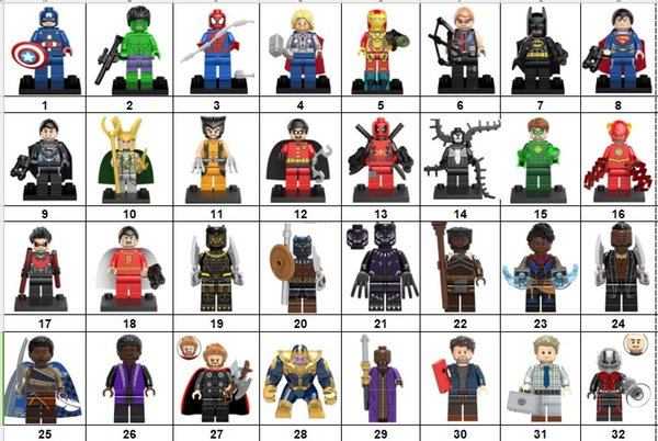 Wholsale Super hero Mini Figures Marvel Avengers DC Justice League Wonder woman Ironman Batman Logan Black widow building blocks kids gifts