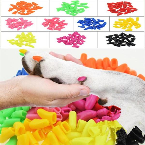 10 set / lote Colorido Gatos Perros Gatito Patas Grooming Garra Adhesivo Pegamento suave gel de sílice Pet Nail Cover / Paws Caps Cuidado de uñas T2I308