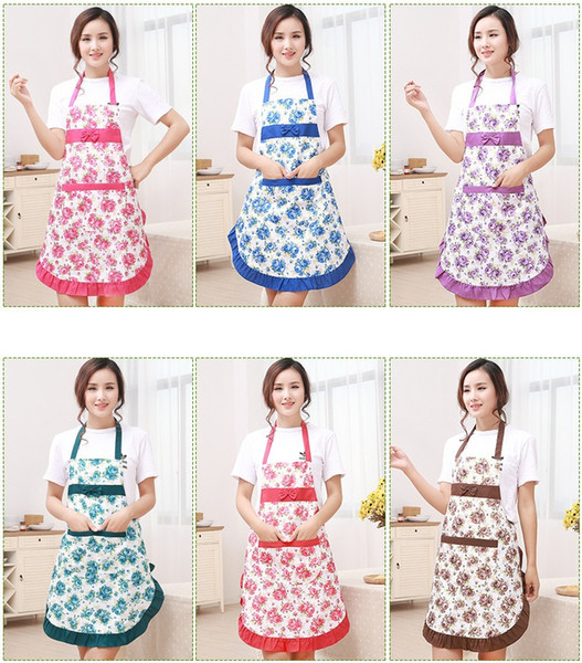 top popular Printed Apron with Pockets Waterproof Floral Bib Kitchen Soil Release Bowknot Home Textiles Free Shipping W7443 2020