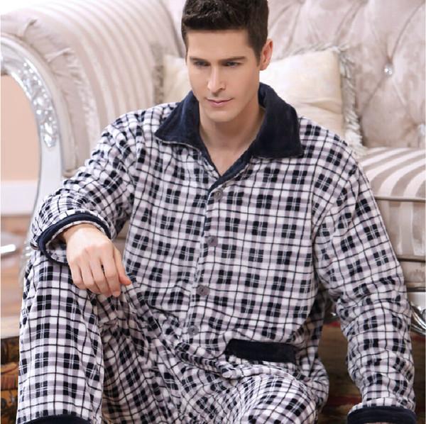Thoshine Brand Winter Keep Warm Thick Flannel Men Pajamas Set of Sleepcoat & Trousers Coral Fleece Sleepwear Thermal Nightgown