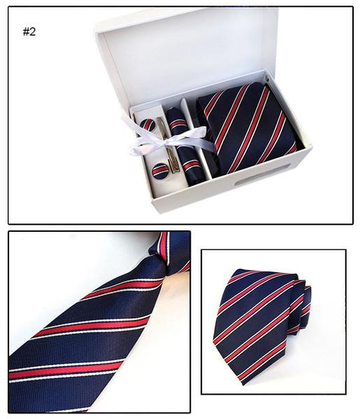 4unit / комплект деловой костюм шеи галстук набор галстук галстук платок запонки галстук клип наборы для мужчин мода будет и песчаный корабль падения 210130