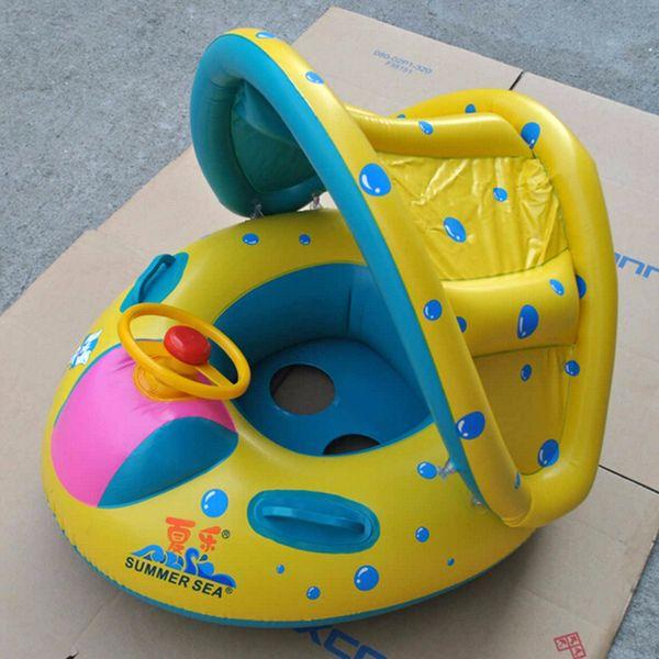 ISF Portátil Infantil Bebé Cisne Flotador Divertido Piscina Verano Seguridad Ajustable Sombrilla Asiento Barco Natación Anillo