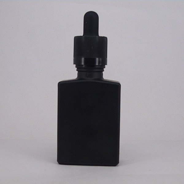 30 ml 1 oz matte black frosted surface glass rectangular e juice vape oil e smoking liquid bear oil cosmetic serum dropper bottle