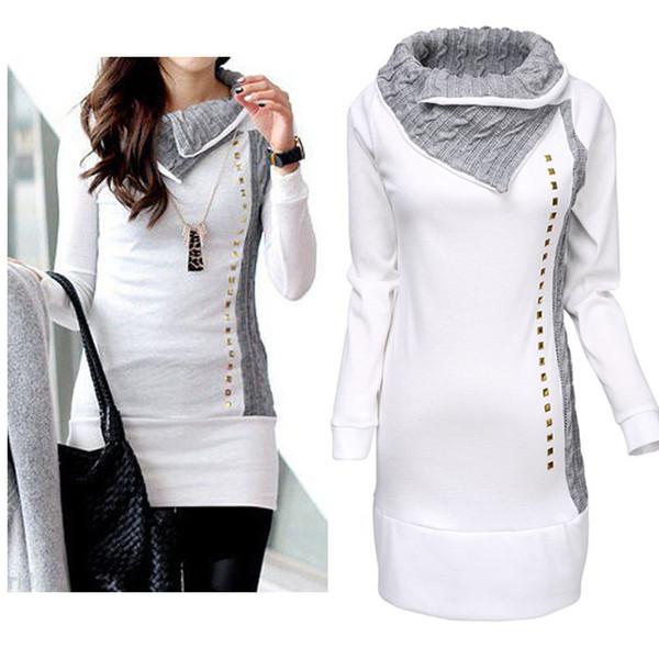Wholesale- High Quality 2018 New Stylish Women Shirt Turn-Down Collar Woman Lady Rivet Embellished Long Sleeve Hoodies Women Tops