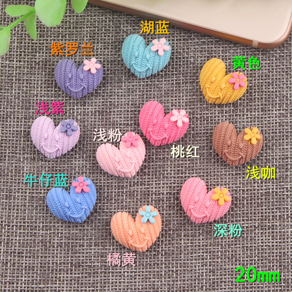 20mm Flower Heart charms 2018 new hot love smile jewelry accessories DIY handmade mobile phone shell material resin charms