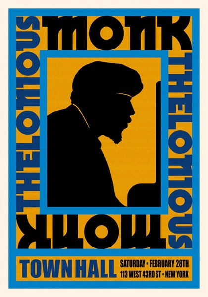 Piano Jazz Great: Thelonious Monk at New York Concert Poster 1959 Art Silk Print Poster 24x36inch(60x90cm)