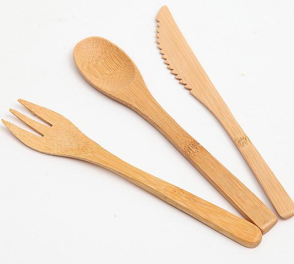 wholesale 3Pcs/Set Eco-friendly Japanese Portable Cutlery Set Bamboo Dinnerware Set Knife Fork Dinner Tableware Set