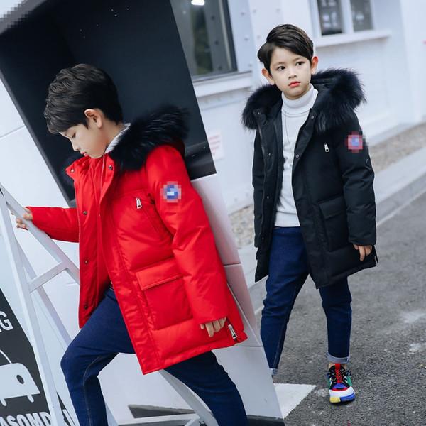 2018 Çocuklar Aşağı Ceket Kalınlaşma Beyaz Ördek Aşağı Sıcak Coat En Kaliteli Kız Erkek Büyük Kürk Parkas Çocuklar Boys Sıcak Ceket