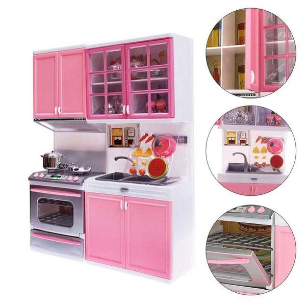 Pink Kid Kitchen Diversión Juguete Juegos de imaginación Cocinar Cocina Gabinete Estufa Conjunto Juguete Niñas Juguetes Niños Juguetes Niños Cocina Sets Regalos de Navidad