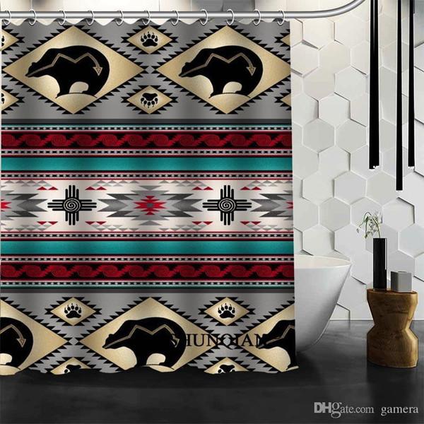 Wholesale-classic pattern Shower Curtain High Quality Bath screens Modern Polyester Fabric Customized bath curtain