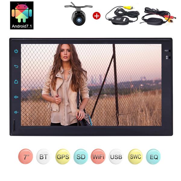 Android 7.1 Car Stereo Double 2Din 7 '' Head Unit Car NO lettore DVD in Dash Navigazione GPS Bluetooth WiFi Audio + Wireless Camera