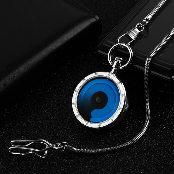 Roman Blau / Lila Swirl Design Open Face Quarz Taschenuhr Mode Coole Männer Frauen Vintage Clock Geschenk mit Anhänger Kette