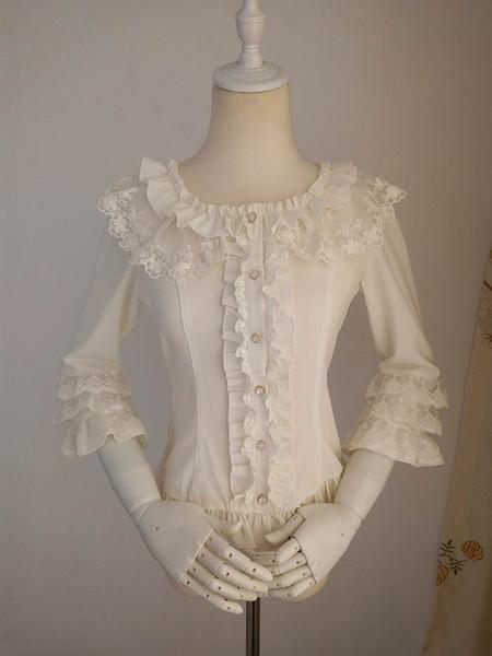 2018 Sweet White and Blue Long Sleeve Gothic Lolita Shirts Summer Ruffles Female Gothic Blouse