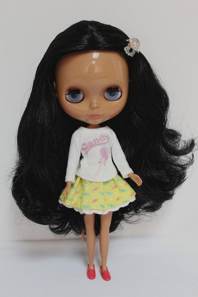 Blygirl Blyth doll Black curly black skin nude doll ordinary body 7 joints DIY can change makeup