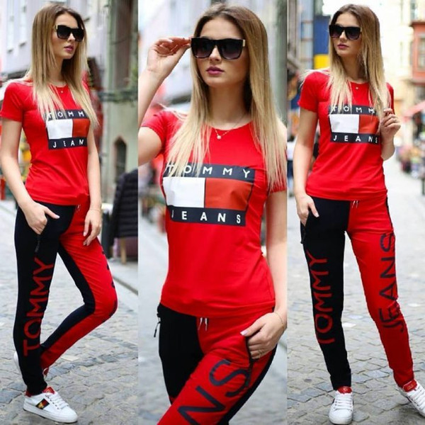 neo Pink summer sports printing set, short sleeved T-shirt and straight Shorts kanye west 3 color 4 yards Yoga Set S-XL