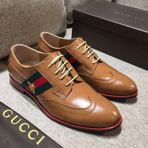 Man point toe dress shoe Italian designer mens dress shoes golden genuine leather black luxury wedding shoes Size 38-45