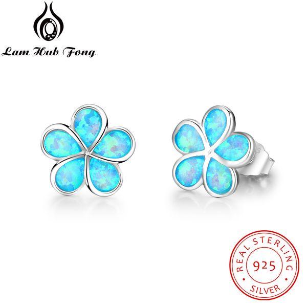 Beaux bijoux en argent Sterling 925 mignon fleur Stud avec Blue Opal Stone Trendy petites boucles d'oreilles pour les femmes (Lam Hub Fong)