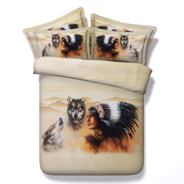 3D Indian Wolf bedding sets queen christmas duvet cover single twin king cal king size bedspreads American Styles animal bedlinens for adult