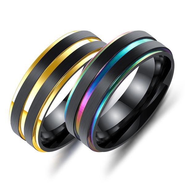 Homens de Aço Inoxidável preto Anéis de Dedo Multicolor / Cor de Ouro Duplo Titânio Anéis Masculinos Presente Exclusivo Engrave Jóias GJ616