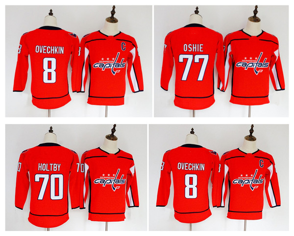 pretty nice 3b253 33a00 2019 2018 Youth Kids Washington Capitals Jersey Cheap 8 Alex Ovechkin 77 TJ  Oshie 70 Braden Holtby Red Boys Jerseys Authentic Ice Hockey Jerseys From  ...