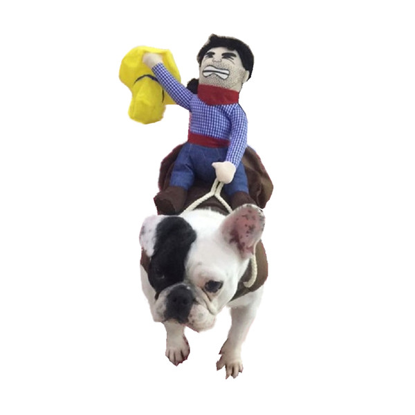Pet Cosplay Costumes Funny Cowboy Doll Riding Black Hair Coffee Khaki Color Teddy Unique Puppy Coat Small Medium Large Chihuahua
