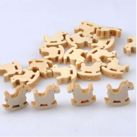 50pcs Natural Wooden hobbyhorse Wooden Spacer Beads For Pacifier Clips making DIY 20x19mm MT1493X