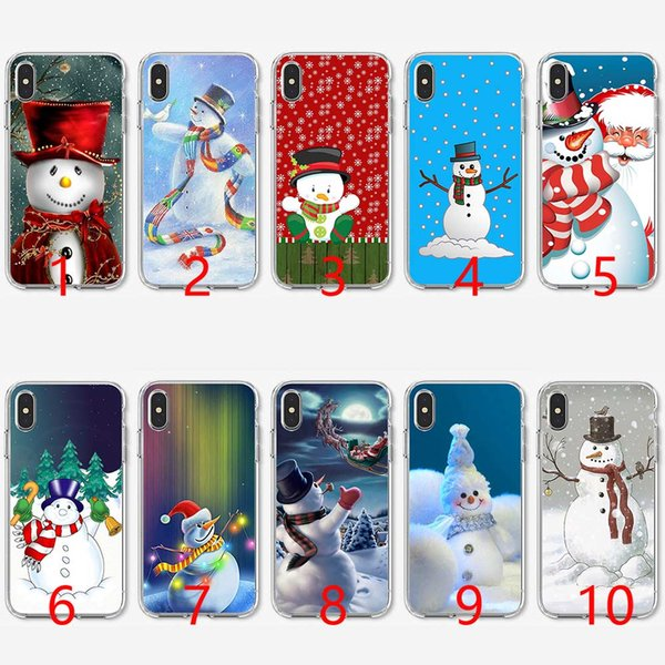 Christmas Snowman New Year Gifts Soft Silicone TPU Phone Case for iPhone 5 5S SE 6 6S 7 8 Plus X XR XS Max Cover
