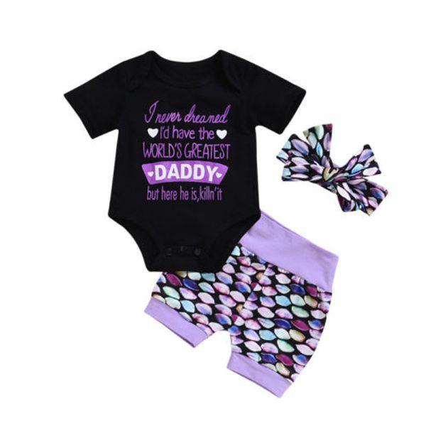 Sommer Neugeborenes Baby Pailletten Baumwolle Top Strampler + Meerjungfrau Kurze Hosen Stirnband Outfits Kleidung
