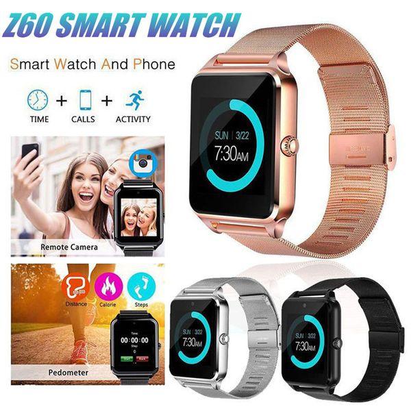 Z60 Smart Watch Bluetooth Smartphone orologi da polso Smartwatch con cinturino in acciaio inossidabile SIM / TF Card orologio da polso per Apple Android Phone