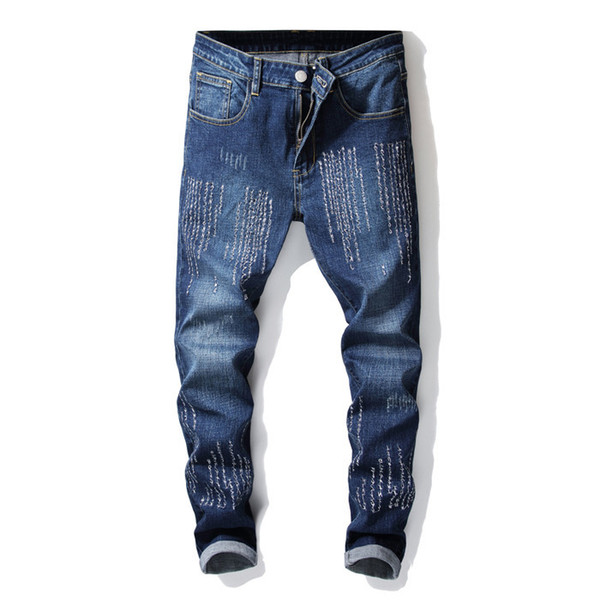 New Mens jeans Fashion Men Casual Slim fit Straight High Stretch Feet skinny jeans men blue hot sell male trousers
