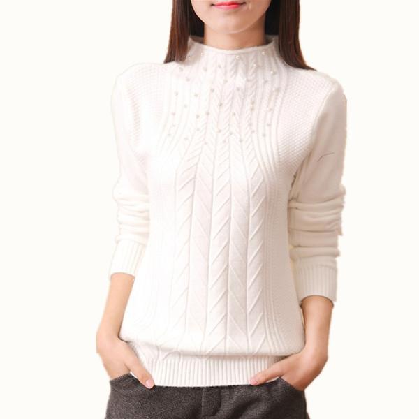 B1672 Otoño / invierno 2018 nuevo estilo corto de suéter de punto medio de cuello alto suéter de manga larga de las mujeres barato al por mayor