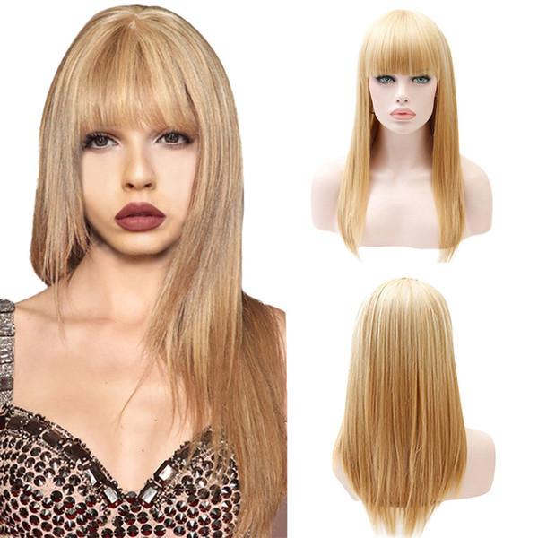 Parrucche per capelli moda oro Parrucca bionda lungo rettilineo Parrucche sintetiche con frangia sintetica 25 pollici 2M81106