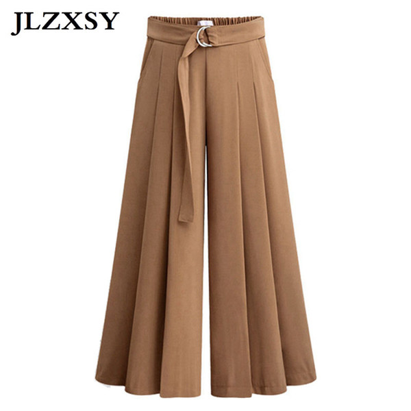 JLZXSY Spring Women Wide Leg Chiffon Pants High Waist Lacing Bow Tie Waist Elastic Trousers OL Pants Long Culottes