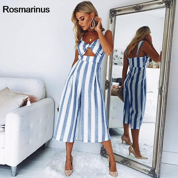 Rosmarinus Cut Out Knot Mono de rayas delanteras 2018Summer Backless Spaghetti Strap Mono de mujeres Sexy Piernas anchas Body de mameluco