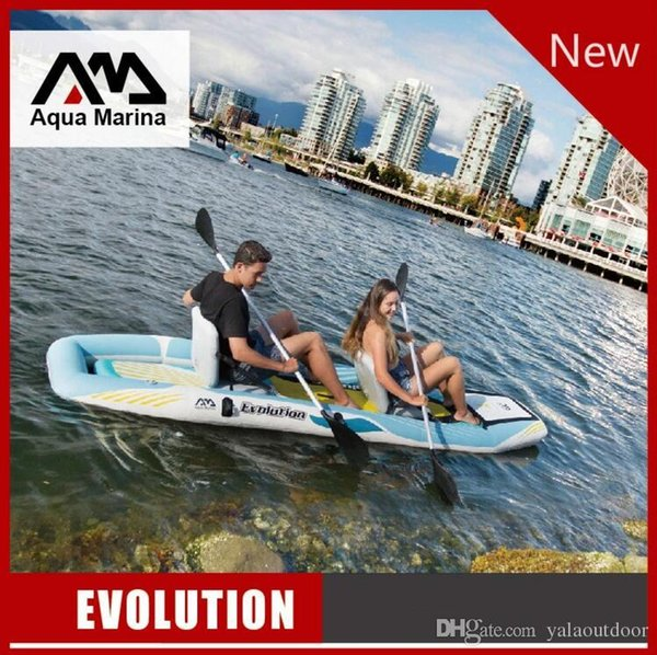 2019 AQUA MARINA EVOLUTION 2 Person Inflatable Kayak With 2 In 1 ISUP  Paddle, Fin, Air Seat, Carry Bag, Repair Tool, Rope From Yalainflatable,  $986 39