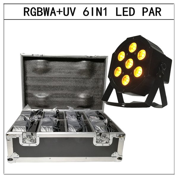 8pcs/6in1 led Par light with flight case RGBWA+UV 6in1 flat par led dmx512 disco lights