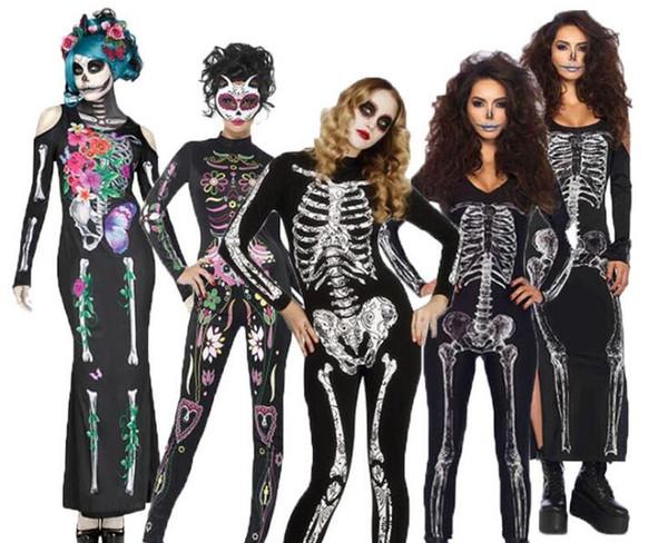 Le donne adulte Halloween Day Dead Costume Ladies Bridal maniche lunghe nero spaventoso Skeleton Skull Joker Cosplay Dress