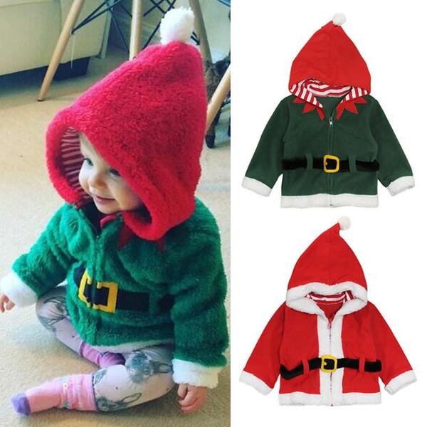 Kids Christmas Hoodies 2018 Autumn winter Santa Claus Plus velvet coats baby Boys girls Xmas Outwear Jackets 2 colors Clothing