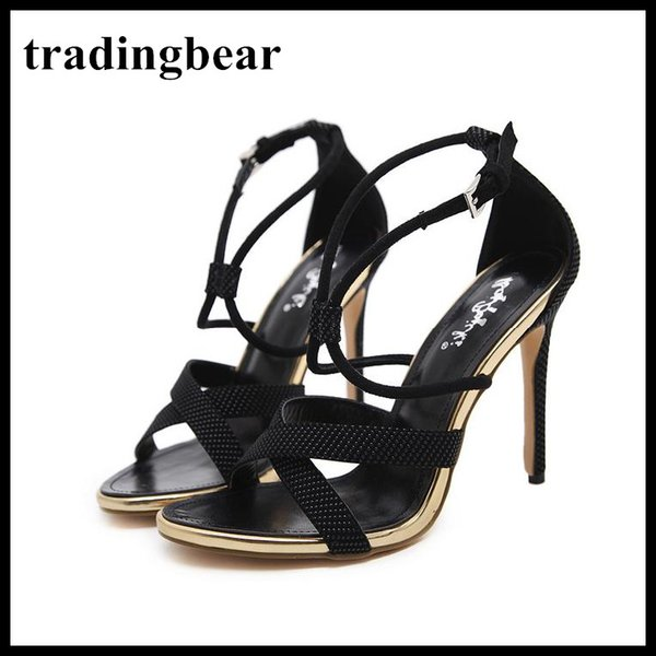 Fashion luxury black thin cross strappy high heel women shoes designer gladiator sandals office lady 2018 size 34 to 39