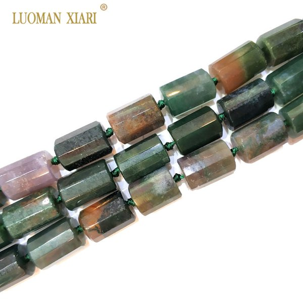 """100% Natural India Agat Cylindrical Shaped Facted Stone Bead For Jewelry Making DIY Bracelet Necklace Size 11*16 mm Strand 15"""""""