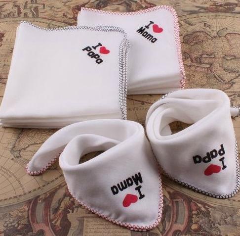 New Infant Bibs Baby Feeding I Love Papa Mama Cotton Multipurpose Kids Saliva Towel Newborn Gauze Handkerchief Burp Cloth Baby Bibs